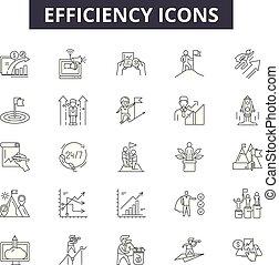 línea, móvil, editable, signs., tela, contorno, eficiencia, ilustraciones, golpe, iconos, concepto, design.