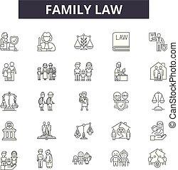 línea, móvil, signs., tela, familia , ley, contorno, golpe, ilustraciones, editable, iconos, concepto, design.