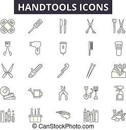 línea, móvil, signs., tela, handtools, contorno, golpe, ilustraciones, editable, iconos, concepto, design.