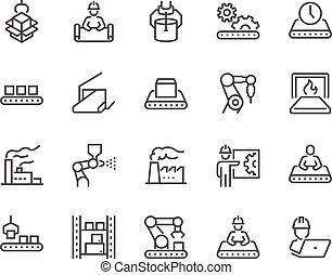 línea, masa, iconos, producción