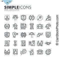 línea, moderno, delgado, iconos