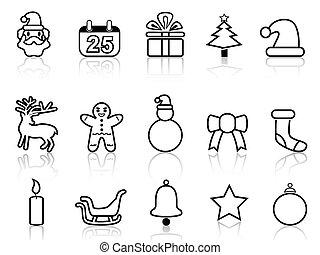línea, negro, navidad, iconos