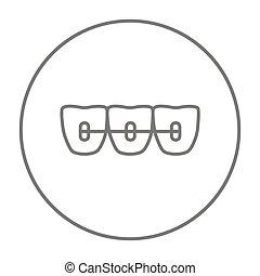 línea, ortodóntico, icon., fierros