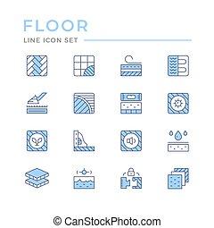 línea, piso, conjunto, iconos, color