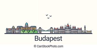 línea plana, bandera, budapest