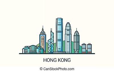 línea plana, bandera, hong kong
