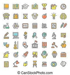 línea plana, colorido, escuela sujeta, iconos