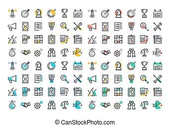 línea plana, colorido, iconos, colección