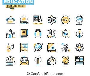 línea plana, iconos, de, educación