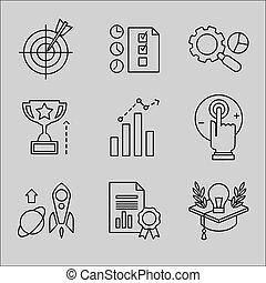 línea plana, iconos, para, tela, development.