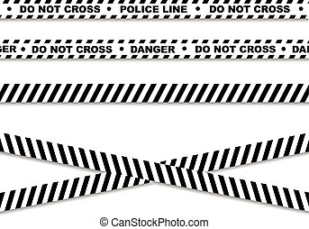 línea, policía, cintas, peligro