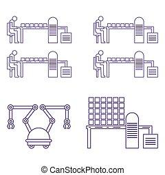 línea., producción, automático, elegante, robótico