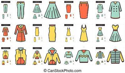 línea, ropa, set., icono