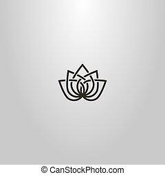 línea, señal, resumen, vector, flor, arte, loto, simple,...