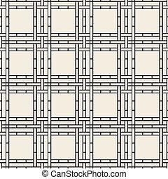línea, seamless, patrón, plano de fondo, monocromo, cestería