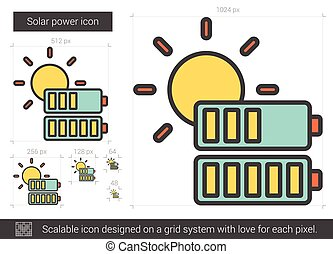 línea, solar, icon., potencia