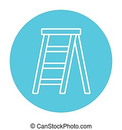 línea, stepladder, icon.