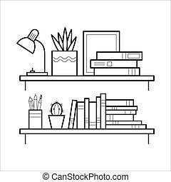 línea, style., estante libros, delgado