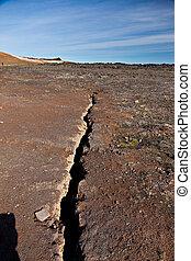 línea, terremoto, fisura