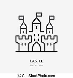 línea, torre, edificio., señal, fortaleza, ciudadela, ...