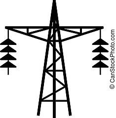 línea, torre, potencia, icono