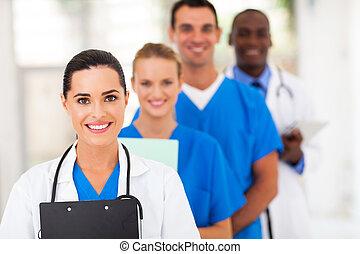 línea, trabajadores, grupo, arriba, atención sanitaria