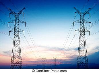 línea transmisión, ocaso, pilón, potencia