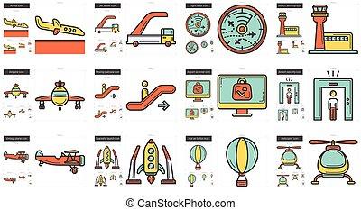 línea, transporte, set., icono