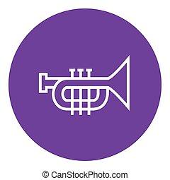 línea, trompeta, icon.