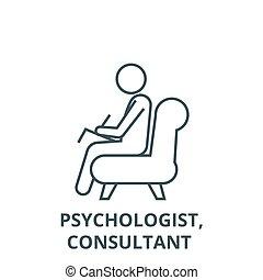 línea, vector, consultor, concepto, icono, señal, psicólogo...