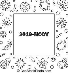 línea, vector, estilo, 2019-ncov, marco, concepto, delgado