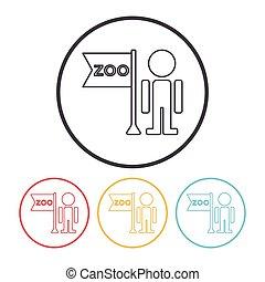 línea, zookeeper, icono