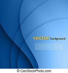 líneas azules, liso, torsión, fondo., vector, luz