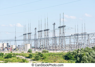 líneas de alimentación, de, un, central nuclear
