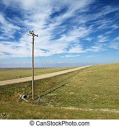 líneas de alimentación, en, rural, road.
