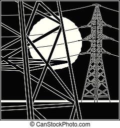 líneas, de alto voltaje, potencia