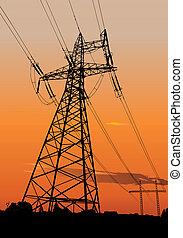 líneas, energía eléctrica, pilones