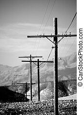 líneas, postes, b&w, servicio público a motor