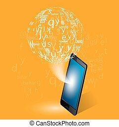 língua, aprendizagem, através, internet, vetorial