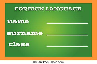 língua, etiqueta, livro, experiência verde, estrangeiro