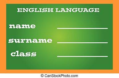 língua, etiqueta, livro, experiência verde, inglês