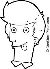 língua, homem, saída, caricatura, penduradas