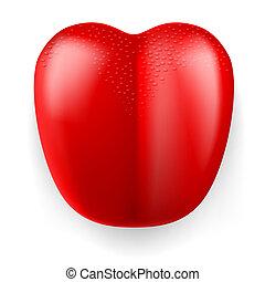língua, vermelho, plástico