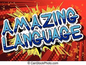 língua, word., -, espantoso, livro, cômico