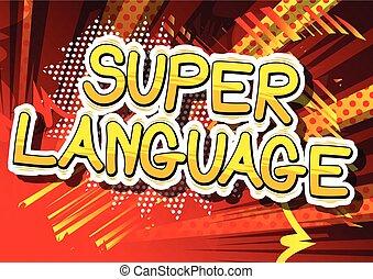 língua, word., -, livro, cômico, super