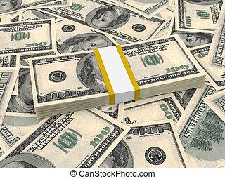 lío, de, ciento dólares, billetes de banco, en, el, fondo.