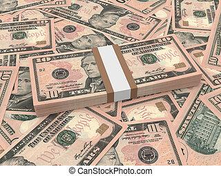 lío, de, diez, dólares, billetes de banco, en, el, fondo.