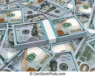lío, de, nuevo, ciento dólares, billetes de banco, en, el, fondo.