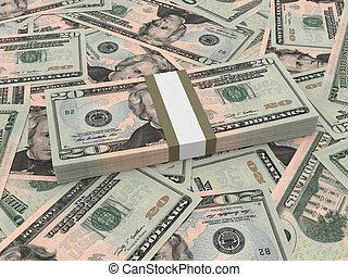 lío, de, veinte dólares, billetes de banco, en, el, fondo.