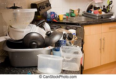 lío, el lavarse-para arriba, sucio, cocina